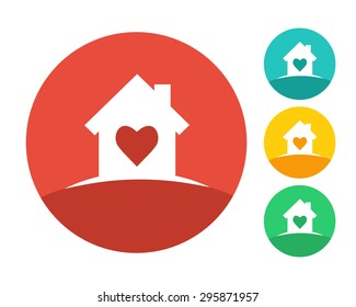 Real estate house logo concept with heart inside. Eps10 vector and color set.