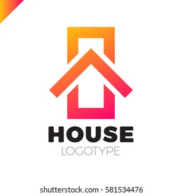 Real estate house logo. Top arrow up house logotype. Simple home icon design template elements orange gradient