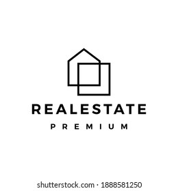 real estate house mortgage outline logo vector icon illustration