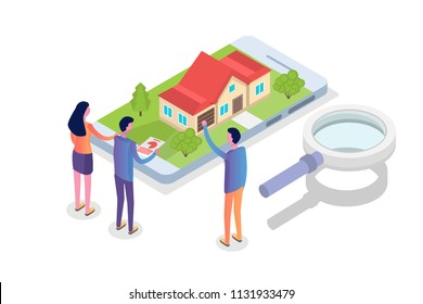 Real estate House on a map search isometric concept. Vector illustration