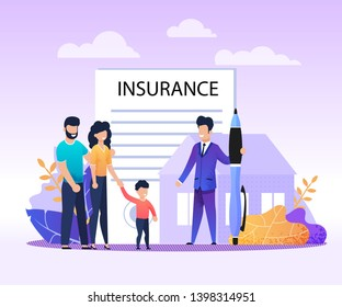 Real Estate, House, Property Insurance Services Flat Advertising Banner. Cartoon Family with Child and Agent Meeting for Making Deal and Filling Questionary. Vector Home Protection Illustration