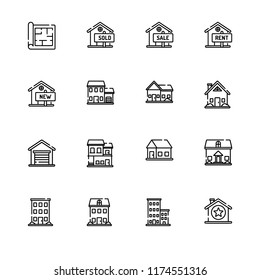Real estate, house rent and sale, immovable property outline opened outlines icon set EPS 10 vector format. Transparent background.