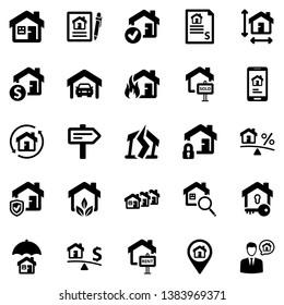 Real Estate Icon Set - 1 (Black Series)