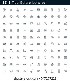 Real estate icon set with 100 vector pictograms. Simple outline icons isolated on a white background. Good for apps and web sites.