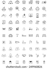Real Estate Icon Set, Line, Minimalistic Vector, Home