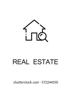 Real estate icon. Single high quality outline symbol for web design or mobile app. Thin line sign for design logo. Black outline pictogram on white background