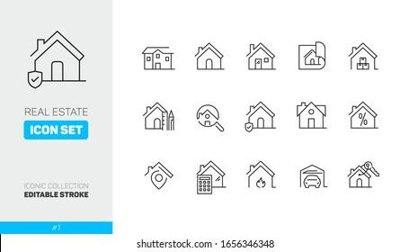 Ikonen-Symbolsatz 1 für Immobilien