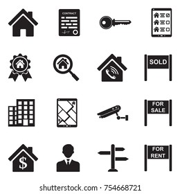 Real Estate Icons. Black Flat Design. Vector Illustration.