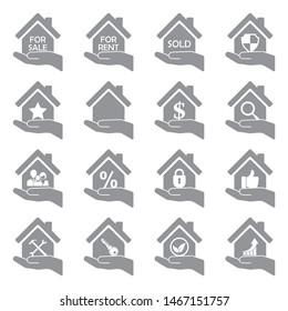 Real Estate Icons. Gray Flat Design. Vector Illustration.