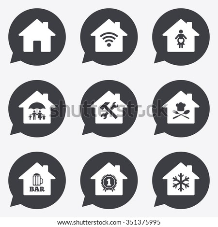Real Estate Icons Home Insurance Maternity Stock Vector Royalty