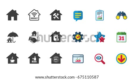 Real Estate Icons House Insurance Broker Stock Vector