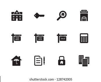 Real Estate Icons on white background. Vector illustration. Flat icons.