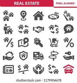 Real Estate Icons. Professional, pixel perfect icons, EPS 10 format.