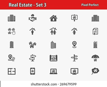Real Estate Icons. Professional, pixel perfect icons optimized for both large and small resolutions. EPS 8 format.