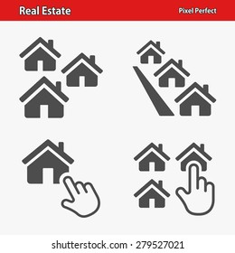 Real Estate Icons. Professional, pixel perfect icons optimized for both large and small resolutions. Designed at 32 x 32 pixels.