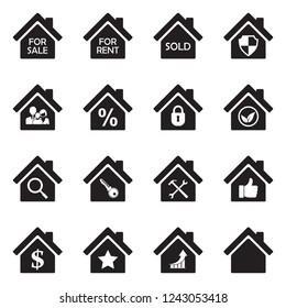 Real Estate Icons. Set 3. Black Flat Design. Vector Illustration.