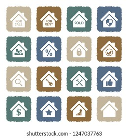 Real Estate Icons. Set 3. Grunge Color Flat Design. Vector Illustration.