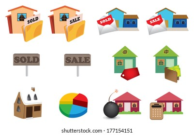 Real estate icons set in colors. Vector illustration