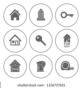 Real estate icons set - house property sale - apartment rent home sign and symbols