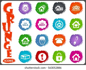 Real estate icons set for web sites and user interface in grunge style