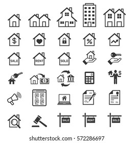 Real estate icons. Vector illustrations.