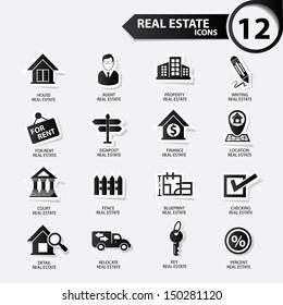 Real estate icons,Black version,vector