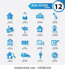 Real estate icons,Blue version,vector