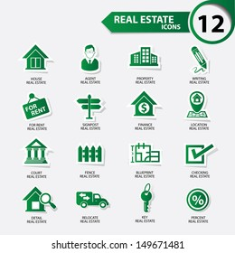 Real estate icons,Green version,vector