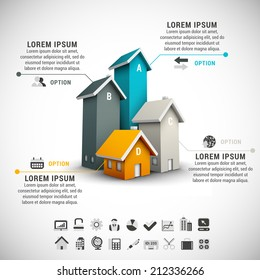 Real estate infographic made of colorful houses.