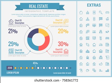 Real estate infographic template, elements and icons. Infograph includes customizable pie chart, graph, line icon set with real estate agent, architecture engineering, investment broker, realtor etc.