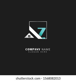 Real estate initial z logo with square element, real estate symbol vector logo, design template
