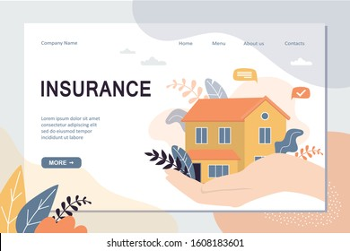 Real estate insurance landing page template. House on hand with care, concept background. Home security protection web banner. Trendy vector illustration