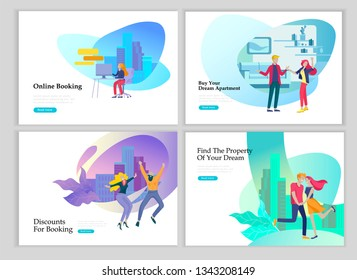 Real Estate Landing Page template. Investment in Property, happy people buying or renting Apartments, house. Online Booking, rent discounts, succes deal. Vector illustration with cartoon people
