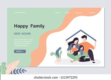 Real estate landing page template. Happy family with children in new house concept. Father holding roof of new home. New purchased or rented housing. Love people together banner. Vector illustration