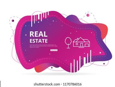 Real Estate Landing PAge UI UX Vector Illustration