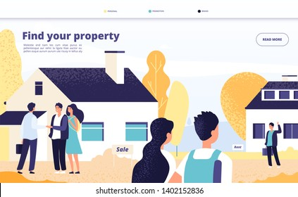 Real estate landing. People rent, sale and buy property. Young couple with broker and owner at private house. Vector web page design