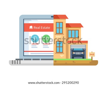 House Building Online   Real Estate Laptop Building House Isolated Stock Vector Royalty
