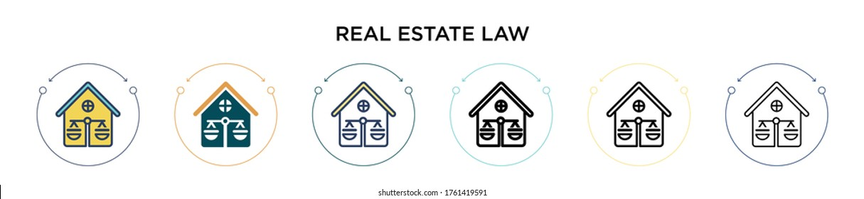 Real estate law icon in filled, thin line, outline and stroke style. Vector illustration of two colored and black real estate law vector icons designs can be used for mobile, ui, web