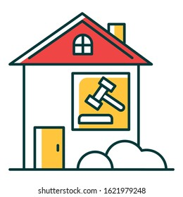 Real estate lawsuit RGB color icon. Tenancy legal dispute. Property litigation, court case. Realty trial. Lease agreement matter. Conflict resolution. Legal Isolated vector illustration