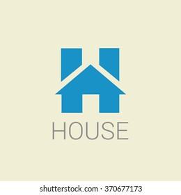 Real estate letter H logo in a house home shape icon design template element