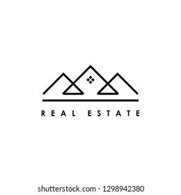 Real estate line art logo design template. Design elements for logo, label, emblem, sign. Vector illustration - Vector