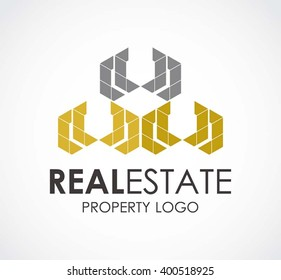 Real estate of line building abstract vector and logo design or template luxury property business icon of company identity symbol concept