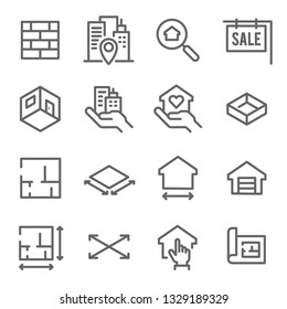 Real Estate Line Icon Set. Contains such Icons as Blueprint, Floor plan, Apartment and more. Expanded Stroke
