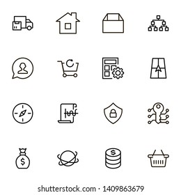Real estate line icon set. Collection of high quality black outline logo for web site design and mobile apps.