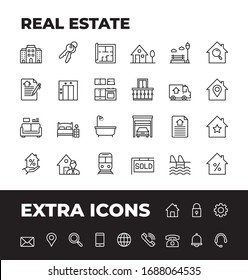 Real Estate Line Icon Set with extra set of most common icons. Unique Style of Outline Icons for web, mobile app and infographics at presentations