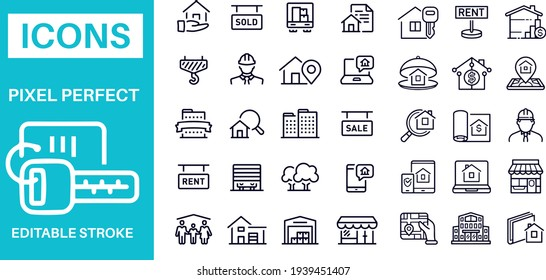 Real Estate Line Icons with Business
