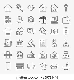 Real Estate Line Icons Set. Vector Collection of Outline House and Building Symbols.