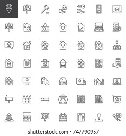 Real estate line icons set, outline vector symbol collection, linear style pictogram pack. Signs, logo illustration. Set includes icons as House sale, rent, office, auction, blueprint, residential