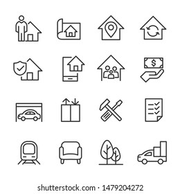Real Estate - Line Icons - Vector Icons set