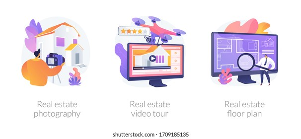 Real estate listing services abstract concept vector illustration set. Real estate photography, video tour and floor plan, realty agency advertisement, open house, virtual staging abstract metaphor.